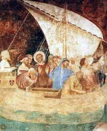 Andrea di Bonaiuto: Scènes de la vie de Saint Rainieri, détail. 1377. Fresque. Pise, Campo Santo