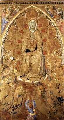 Bartolomeo Bulgarini: La vierge de l'assomption et Saint Thomas. 1360ss. Tempera sur panneau, 205 x 112 cmSienne, Pinacothèque nationale