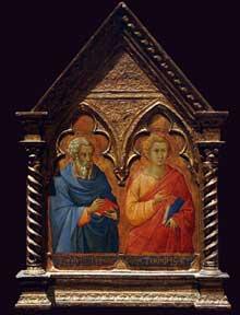 Bartolomeo Bulgarini: Saint Matthias et saint Thomas. Tempera sur bois. Vers 1350. New York, Metropolitan Museum of Art
