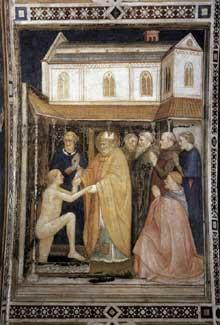 Capanna Puccio: Saint Stanislas réssuscite un mort. Vers 1338. Fresque. Assise, église inférieure Saint François