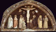 Capanna Puccio: Crucifixion. Vers 1344. Fresque. Salle capitulaire de Saint François d'Assise