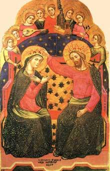 Catarino: Couronnement de la Vierge. 1375. Tempera sur panneau, 89 x 58 cm. Venise, Gallerie dell'Accademia
