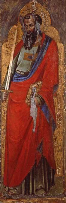 Catarino: Saint Paul. 1360s. Tempera sur panneau de bois, 32 x 95 cm. Ljubljana, Galerie natiionale de Slovénie