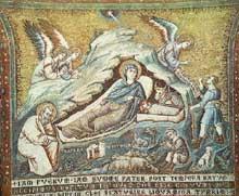 Pietro Cavallini: Mosaïque de la Nativité du Christ. 1291. Rome, Sainte Marie in Trastevere