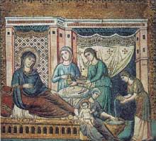 Pietro Cavallini: Mosaïque de la nativité de la Vierge. 1291. Rome, Sainte Marie in Trastevere