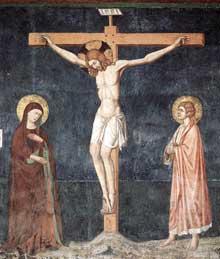 Pietro Cavallini: Crucifixion, détail. Vers 1308. Fresque. Naples, San Domenico Maggiore