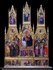 Ser Cenni: polyptyque du couronnement de la Vierge.et des saints. 1390-1400. Tempera sur panneau de bois. Los Angeles, Jean Paul Getty Museum