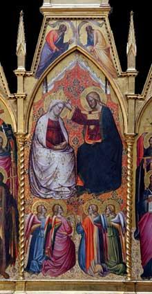 Ser Cenni: polyptyque du couronnement de la Vierge.et des saints, détail. 1390-1400. Tempera sur panneau de bois. Los Angeles, Jean Paul Getty Museum