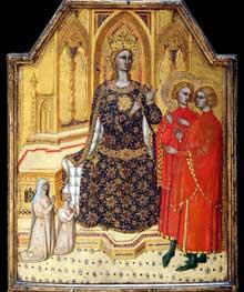 Ser Cenni: Sainte Catherine discutant et deux donateurs. Vers 1390. Tempera sur bois et feuille d'or, 46 cm x 58 cm. New York, Metropolitan Museum of Art