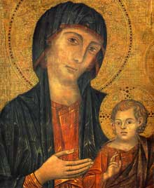 Cimabue: La Maesta, Madone en majesté (1285-1286), tempera sur panneau, 385 x 223cm. Florence, galerie des Offices. Détail