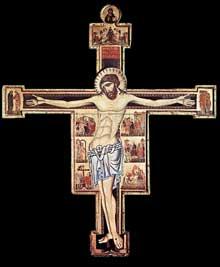 Coppo di Marcovaldo: Crucifix. Après 1261. Tempera sur bois, 296 x 247 cm. San Gimignano, Pinacoteca Civica
