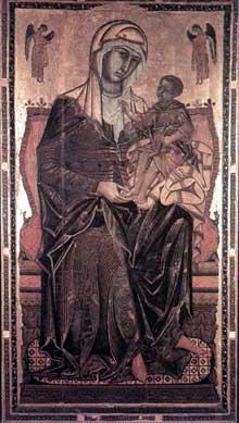 Coppo di Marcovaldo: Madone del Bordone. 1261. Tempera sur bois, 225 x 125 cm. Sienne, Santa Maria dei Servi