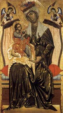 Coppo di Marcovaldo: Madone et enfant. Vers 1265. Panneau de bois, 223 x 135 cm. Orvieto, San Martino dei Servi