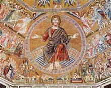 Coppo di Marcovaldo: Le Christ en majesté. Mosaïque de la voûte. Vers 1300. Florence, Baptistère