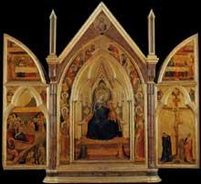 Bernardo Daddi: Triptyque. Vers 1333. Panneau de bois, 89 x 97 cm. (Panneau de bois central). Florence, Loggia del Bigallo