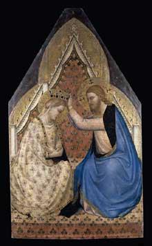 Bernardo Daddi: Le couronnement de la Vierge. Entre 1430 et 1450. Tempera sur panneau de bois, fond or, 112 x 65 cm. Londres, National Gallery
