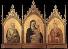 Bernardo Daddi: Madone et enfant avec les saints Matthieu et Nicolas. 1328. Tempera sur bois, 144 x 194 cm. Florence, les Offices