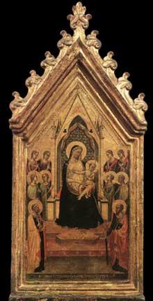 Bernardo Daddi: Madone et enfant trônant avec anges et saints. 1334. Tempera sur bois, 56 x 26 cm. Florence, les Offices