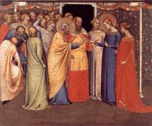 Bernardo Daddi: Le mariage de la vierge. 1336-1340. Tempera sur bois, 25,5 x 30,7 cm. Windsor, Royal Collection