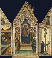 Bernardo Daddi: Triptyque de la Madone. 1335-1340. Tempera sur panneau de bois, 59,5 x 53,4 cm. Altenbourg, Staatliches Lindenau-Museum