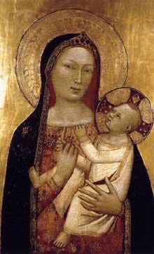 Bernardo Daddi: Vierge et enfant. 1340-1345 Tempera sur panneau de bois, 84 x 55 cm. Madrid, Museo Thyssen-Bornemisza