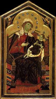 Dietisalvi de Speme: Madone avec anges. Après 1262. Tempera sur panneau de bois, 120 x 70 cm. Sienne, Pinacothèque Nationale