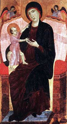Duccio: la Madone Gualino. Après 1285. Tempera sur bois, 157 x 86 cm. Turin, Galleria Sabauda