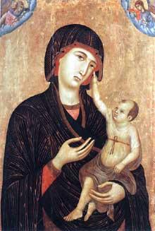 Duccio: Madone avec l'enfant et deux anges ou Madone Crevole. 1283-1284. Tempera sur bois, 89 x 60 cm. Sienne, Musée de l'œuvre du Dôme