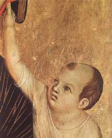 Duccio: Madone avec l'enfant et deux anges ou Madone Crevole, détail. 1283-1284. Tempera sur bois. Sienne, Musée de l'œuvre du Dôme