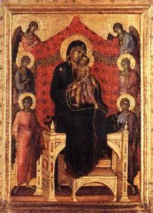 Duccio: Maestà. 1288-1300. Tempera sur bois, 31,5 x 22,5 cm. Berne, Kunstmuseum