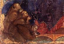 Duccio: Madone des Franciscains, détail. Vers 1300. Tempera sur bois. Sienne, Pinacothèque Nationale