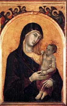 Duccio: Madone et enfant avec six anges. 1300-1305. Tempera sur bois, 97 x 63 cm. Pérouse, Galleria Nazionale dell'Umbria