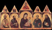Duccio: Polyptyque N°28. 1300-1305.Tempera sur bois, 128 x 234 cm. Sienne, Pinacothèque Nationale