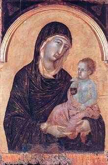 Duccio: Polyptyque N°28, détail. 1300-1305.Tempera sur bois, 77,5 x 62 cm. Sienne, Pinacothèque Nationale