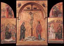 Duccio: Triptyque. 1305-1308. Panneau, 44,9 x 31,4 cm (centre); 44,8 x 16,9 cm (chaque volet). Windsor, Royal Collection