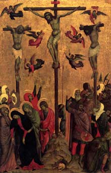 Duccio : Crucifixion. 1310s. Panneau, 60 x 38 cm. Manchester, City Art Galleries