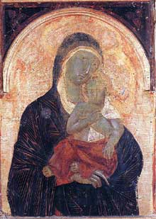 Duccio: Maestà: l'entrée à Jérusalem, détail. 1308-1311. Tempera sur bois. Sienne, musée de l'Œuvre du Dôme