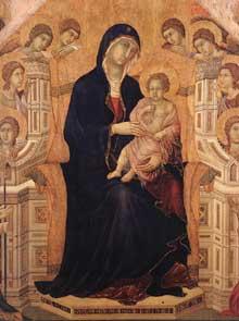 Maestà: la vierge trônant, face avant, détail: 1308-1311. Tempera sur bois. Sienne, musée de l'Œuvre du Dôme