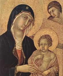 Maestà, face avant, détail: l'enfant Jésus. 1308-1311. Tempera sur bois, 84 x 69 cm. Sienne, musée de l'Œuvre du Dôme
