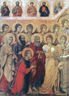 Duccio di Buoninsegna: la Maestà, face avant, détail: les saints auprès du trône de la vierge, partie gauche. 1308-1311. Tempera sur bois. Sienne, musée de l'Œuvre du Dôme