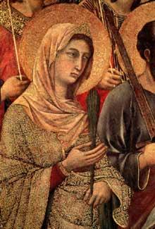 Duccio di Buoninsegna: la Maestà, face avant, détail: Sainte Catherine d'Alexandrie.1308-1311. Tempera sur bois. Sienne, musée de l'Œuvre du Dôme