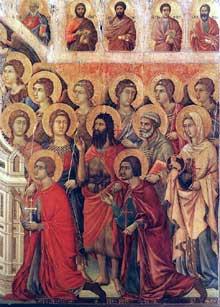 Duccio di Buoninsegna: la Maestà, face avant, détail: les saints auprès du trône de la vierge, partie droite. 1308-1311. Tempera sur bois. Sienne, musée de l'Œuvre du Dôme
