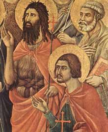 Duccio di Buoninsegna: la Maestà, face avant, détail: les saints auprès du trône de la vierge, partie droite. 1308-1311. Tempera sur bois, 79 x 65 cm. Sienne, musée de l'Œuvre du Dôme