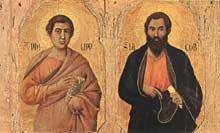 Duccio di Buoninsegna: la Maestà, face avant, détail: les apôtres Phillippe et Jacques le Majeur sur la partie gauche. 1308-1311. Tempera sur bois, 37 x 23 cm. Sienne, musée de l'Œuvre du Dôme