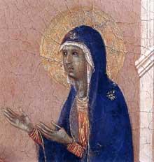Duccio di Buoninsegna: la Maestà, face avant, détail: l'annonce de la mort de la Vierge. 1308-1311. Tempera sur bois. Sienne, musée de l'Œuvre du Dôme