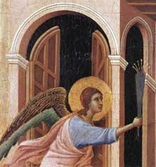 Duccio di Buoninsegna: la Maestà, détail: l'annonce de la mort de la Vierge. 1308-1311. Tempera sur bois. Sienne, musée de l'Œuvre du Dôme