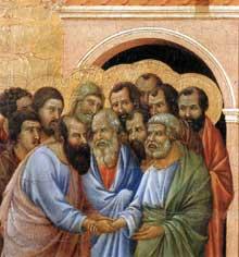 Duccio di Buoninsegna: la Maestà, face avant, détail: l'adieu à saint Jean. 1308-1311. Tempera sur bois. Sienne, musée de l'Œuvre du Dôme