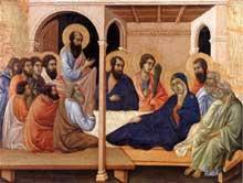 Duccio di Buoninsegna: la Maestà, face avant, détail: l'adieu aux apôtres. 1308-1311. Tempera sur bois, 41,5 x 54 cm. Sienne, musée de l'Œuvre du Dôme