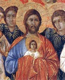 Duccio di Buoninsegna: la Maestà, face avant, détail: la mort de la Vierge: le Christ accueille l'ame de la Vierge. 1308-1311. Tempera sur bois, 40 x 45,5 cm. Sienne, musée de l'Œuvre du Dôme