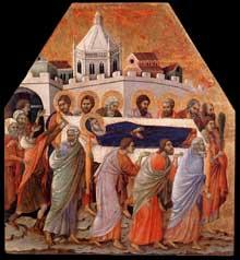 Duccio di Buoninsegna: la Maestà, face avant, détail: les funérailles de la vierge. 1308-1311. Tempera sur bois, 58 x 52,5 cm. Sienne, musée de l'Œuvre du Dôme